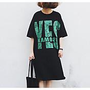 Mujer Camiseta Vestido Casual/Diario Estampado Escote Redondo Hasta la Rodilla Manga Corta Algodón Verano Tiro Medio Microelástico Medio