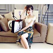 Mujer Simple Casual/Diario Verano T-Shirt Falda Trajes,Escote Barco Estampado Manga Corta
