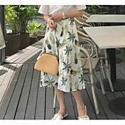 Mujer Noche Asimétrico Faldas,Columpio Verano Estampado Bloque de Color