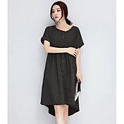 Mujer Corte Ancho Vestido Casual/Diario Un Color Escote Redondo Midi Manga Corta Algodón Verano Tiro Medio Microelástico Fino