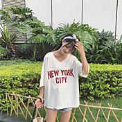 Mujer Simple Casual/Diario Camiseta,Escote en Pico Letra Manga 3/4 Algodón