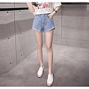 Mujer Sencillo Tiro Alto Microelástico Shorts Vaqueros Pantalones,Corte Recto Un Color