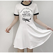 Mujer Vaina Vestido Casual/Diario Letra Escote Redondo Sobre la rodilla Manga Corta Algodón Verano Tiro Medio Microelástico Fino