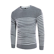 Hombre Simple Casual/Diario Primavera Otoño Camiseta,Escote Redondo A Rayas Manga Larga Licra