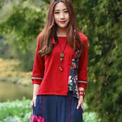 Mujer Tejido Oriental Casual/Diario Camiseta,Escote Redondo Floral Estampado Bloques Manga 3/4 Algodón Lino