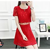 Mujer Encaje Vestido Casual/Diario Un Color Escote Redondo Sobre la rodilla Manga Corta Algodón Verano Tiro Medio Microelástico Fino