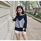 Mujer Simple Casual/Diario Camiseta,Escote Barco Bloques Manga Corta Algodón