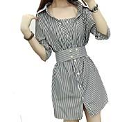 Mujer Vaina Camisa Vestido Noche Casual/Diario Simple Chic de Calle,A Rayas Cuello Camisero Sobre la rodilla Media Manga Algodón Poliéster