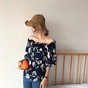 Mujer Bonito Casual/Diario Camisa,Escote Barco Floral Media Manga Algodón