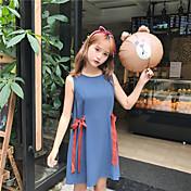 Mujer Línea A Corte Ancho Vestido Casual/Diario Simple,Un Color Escote Redondo Sobre la rodilla Sin Mangas Rayón Verano Tiro Medio