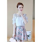 Mujer Simple Casual/Diario Verano T-Shirt Falda Trajes,Escote Redondo Estampado Manga Corta Encaje Microelástico