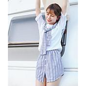 レディース お出かけ 夏 Tシャツ(21) スカート スーツ,シンプル ラウンドネック ソリッド ストライプ 半袖 マイクロエラスティック