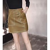 Mujer Discoteca Sobre la Rodilla Faldas,Línea A Verano Un Color