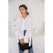 Mujer Simple Casual/Diario Camisa,Escote en Pico Un Color Manga Larga Algodón