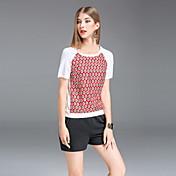 レディース お出かけ カジュアル/普段着 夏 Tシャツ,シンプル ラウンドネック 水玉 シルク コットン 半袖 ミディアム