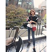 Mujer Sudadera Noche Un Color Escote Redondo Inelástica Algodón Manga Larga Primavera Otoño