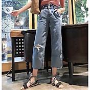 Mujer Sencillo Tiro Alto Inelástica Vaqueros Pantalones,Corte Recto Un Color