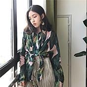 Mujer Vintage Casual/Diario Camisa,Cuello Camisero Floral Estampado Manga Larga Algodón Poliéster
