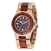 女性用 腕時計 ウッド 日本産 クォーツ 木製 ウッド バンド チャーム ラグジュアリー エレガント腕時計 レッド アイボリー