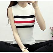 Mujer Simple Casual/Diario Camiseta,Escote Redondo Un Color A Rayas Sin Mangas Algodón
