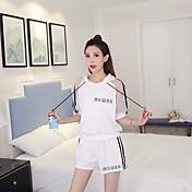 Mujer Simple Activo Deportes Casual/Diario Primavera T-Shirt Pantalón Trajes A Rayas Refranes y citas Media Manga Microelástico