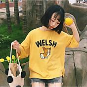 Mujer Simple Casual/Diario Verano Camiseta,Escote Redondo Un Color Estampado Letra Manga Corta Algodón