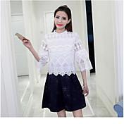 Mujer Simple Casual/Diario Verano Blusa Falda Trajes,Escote Redondo Un Color Patrón Manga Corta