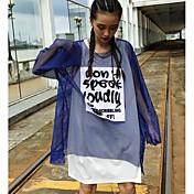 Mujer Simple Noche Camiseta,Escote Redondo Un Color Manga Larga Algodón
