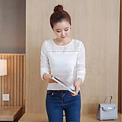 Mujer Simple Casual/Diario Camisa,Escote Redondo Un Color Manga Larga Algodón