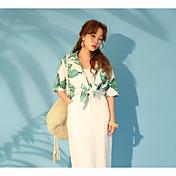 Mujer Sexy Noche Playa Camisa,Escote en Pico Un Color Estampado Manga Corta Algodón