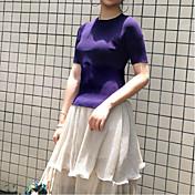 Mujer Sexy Simple Bonito Casual/Diario Camiseta,Escote Redondo Un Color Manga Corta Algodón