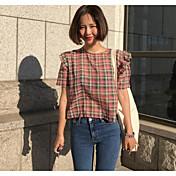 Mujer Simple Noche Camiseta,Escote Redondo Un Color A Cuadros Manga Corta Algodón