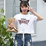Mujer Vintage Deportes Camiseta,Escote Redondo Un Color Manga Corta Algodón Acrílico