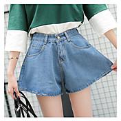 Mujer Sencillo Tiro Alto Inelástica Shorts Pantalones,Perneras anchas Un Color
