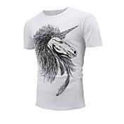 メンズ お出かけ カジュアル/普段着 夏 Tシャツ,シンプル ラウンドネック アニマルプリント コットン 半袖