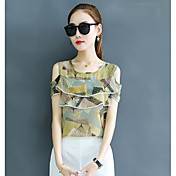 Mujer Simple Casual/Diario Camiseta,Escote Redondo Estampado Manga Corta Poliéster