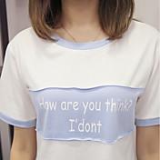 Mujer Simple Activo Deportes Casual/Diario Camiseta,Escote Redondo Estampado Manga Corta Algodón