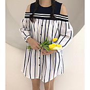 Mujer Corte Ancho Vestido Noche A Rayas Escote Redondo Sobre la rodilla Manga Larga Algodón Verano Tiro Medio Microelástico Fino