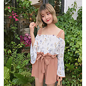 Mujer Vintage Noche Verano Blusa Pantalón Trajes,Con Tirantes Floral Manga Larga