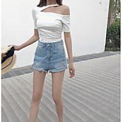 Mujer Simple Casual/Diario Camiseta,Un Hombro Un Color Manga Corta Algodón