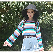 Mujer Regular Pullover Casual/Diario A Rayas Escote Redondo Manga Larga Otro Otoño Medio Microelástico