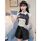 Mujer Simple Casual/Diario Verano Camisas Pantalón Trajes,Cuello Camisero Estampado Sin Mangas