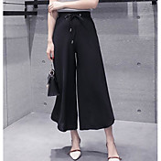 Mujer Sexy Tiro Medio Microelástico Chinos Pantalones,Corte Ancho Perneras anchas Un Color