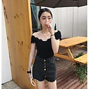 Mujer Sexy Casual/Diario Camiseta,Hombros Caídos Un Color Manga Corta Algodón