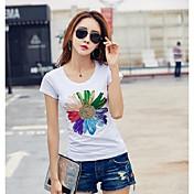 Mujer Simple Casual/Diario Camiseta,Escote Redondo Un Color Floral Estampado Manga Corta Algodón