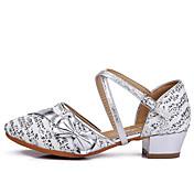 Mujer Zapatos de danza (niños) Punto Lentejuelas Algodón Cuero Patentado Tejido Planos Sandalias Zapatillas InteriorLentejuelas Hebilla