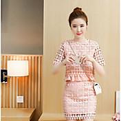 Mujer Simple Casual/Diario Verano T-Shirt Falda Trajes,Escote Redondo Un Color Manga Corta
