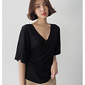 Mujer Simple Casual/Diario Camiseta,Escote en V Profunda Un Color Media Manga Algodón