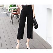 Mujer Sencillo Tiro Medio Inelástica Perneras anchas Pantalones,Corte Recto Un Color
