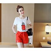 Mujer Verano T-Shirt Pantalón Trajes,Escote Redondo Un Color Manga Corta